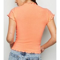 Bright Orange Neon Frill Trim Ribbed T-Shirt New Look