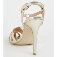 Gold Metallic Caged Stiletto Heels New Look