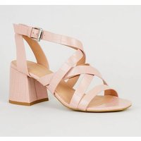 Pink Faux Croc Strappy Sandals New Look