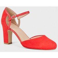 Wide Fit Red Suedette 2 Part Block Heels New Look