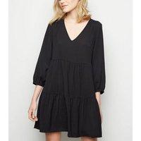 Black Herringbone Smock Dress New Look