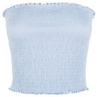 Pale Blue Shirred Bandeau Top New Look