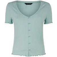 Mint Green Ribbed Button Front Frill Trim Top New Look