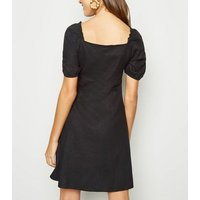 Black Linen Blend Button Up Milkmaid Dress New Look