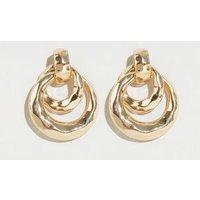Gold Beaten Double Hoop Door Knocker Earrings New Look