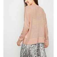 Pale Pink Knitted Long Sleeve Jumper New Look