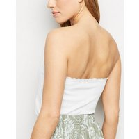 White Ribbed Button Bandeau New Look