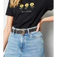 Black Leather-Look Studded Western Jeans Belt New Look
