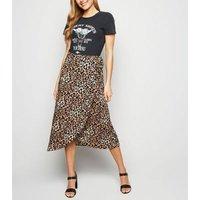 Brown Leopard Print Wrap Midi Skirt New Look