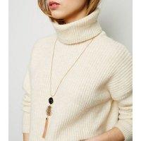 Gold Beaten Tassel Pendant Long Necklace New Look