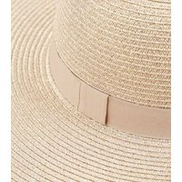 Rose Gold Woven Straw Effect Floppy Hat New Look