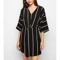 AX Paris Black Stripe Twist Front Dress New Look