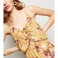 Mustard Tropical Lace Up Jumpsuit New Look