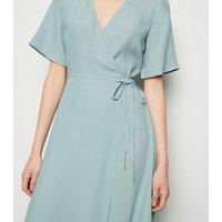 Mint Green Tie Side Midi Wrap Dress New Look