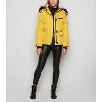 Mustard Faux Fur Trim Short Puffer Jacket New Look