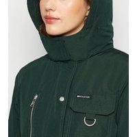 Dark Green Faux Fur Parka Coat New Look