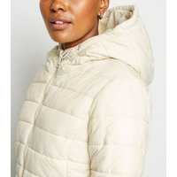 White Hooded Lightweight Puffer Jacket New Look
