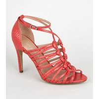 Red Faux Croc Knot Strap Heels New Look Vegan