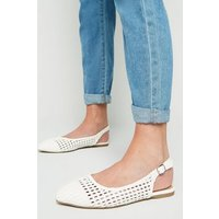 Wide Fit White Leather-Look Woven Slingbacks New Look