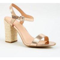 Rose Gold Leather-Look Block Heel Sandals New Look