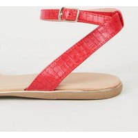 Wide Fit Red Faux Croc 2 Part Pointed Pumps New Look