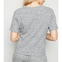 Petite Grey Marl Ribbed Twist Front Top New Look
