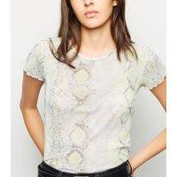 Yellow Neon Snake Print Mesh T-Shirt New Look
