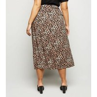 Curves Brown Animal Wrap Front Midi Skirt New Look