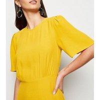 Mustard Side Split Short Sleeve Midi Dress New Look