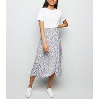 Petite Purple Floral Wrap Midi Skirt New Look