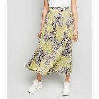 Petite Yellow Neon Snake Print Pleated Midi Skirt New Look