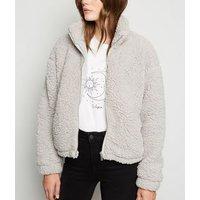 Pale Grey High Neck Teddy Jacket New Look