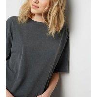 Tall Grey Acid Wash Oversized T-Shirt New Look