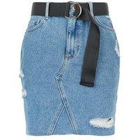 Girls Blue Belted Mom Denim Skirt New Look
