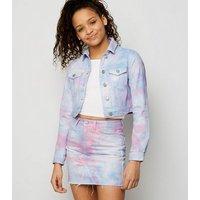 Girls Multicoloured Tie Dye Denim Skirt New Look