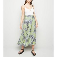 Tall Green Snake Print Pleated Midi Skirt New Look
