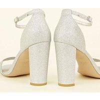 Wide Fit Silver Glitter Block Heels New Look Vegan