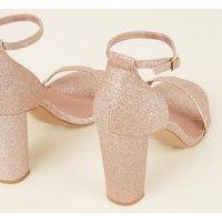 Wide Fit Rose Gold Glitter Block Heels New Look Vegan