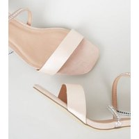 Wide Fit Pink Suedette Diamanté Strap Stilettos New Look