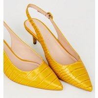 Wide Fit Yellow Faux Croc Slingbacks New Look