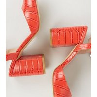 Wide Fit Red Faux Croc Square Toe Court Shoes New Look