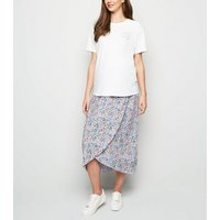 Maternity Lilac Ditsy Floral Wrap Midi Skirt New Look