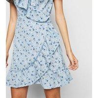 Brave Soul Blue Floral Wrap Dress New Look
