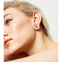 Pale Pink Flower Stud Earrings New Look