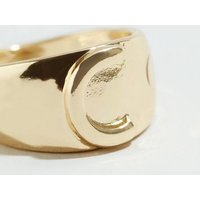 Gold C Initial Signet Ring New Look