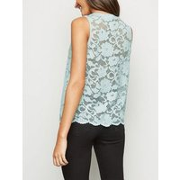 Mint Green Scallop Edge Lace Vest Top New Look