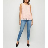 Pink Scallop Edge Lace Vest Top New Look