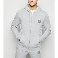 Grey TW9 Embroidered Zip Up Hoodie New Look