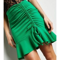 Green Ruched Ruffle Hem Mini Skirt New Look