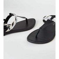 Wide Fit Black Leather Faux Zebra Strap Flat Sandals New Look